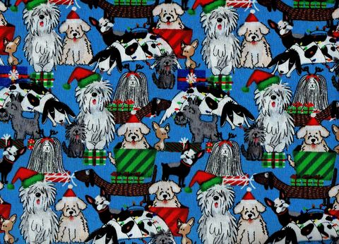 Cotton,Quilt,Fabric,Christmas,Puppy,Presents,Holiday,Pets,,quilt backing, dresses, quilt fabric,cotton material,auntie chris quilt,sewing,crafts,quilting,online fabric,sale fabric