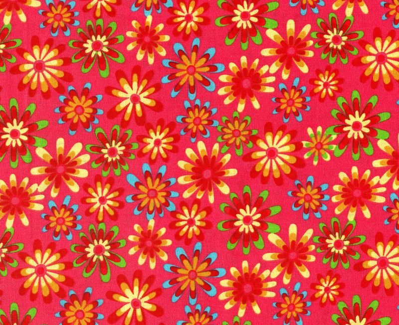 Cotton Quilt Fabric Flower Power Ditsy Daisy Dark Coral Multi - product images  of
