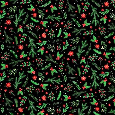 Cotton,Quilt,Fabric,Holiday,Greenery,Black,Santa's,Stash,Patrick,Lose,,quilt backing, dresses, quilt fabric,cotton material,auntie chris quilt,sewing,crafts,quilting,online fabric,sale fabric