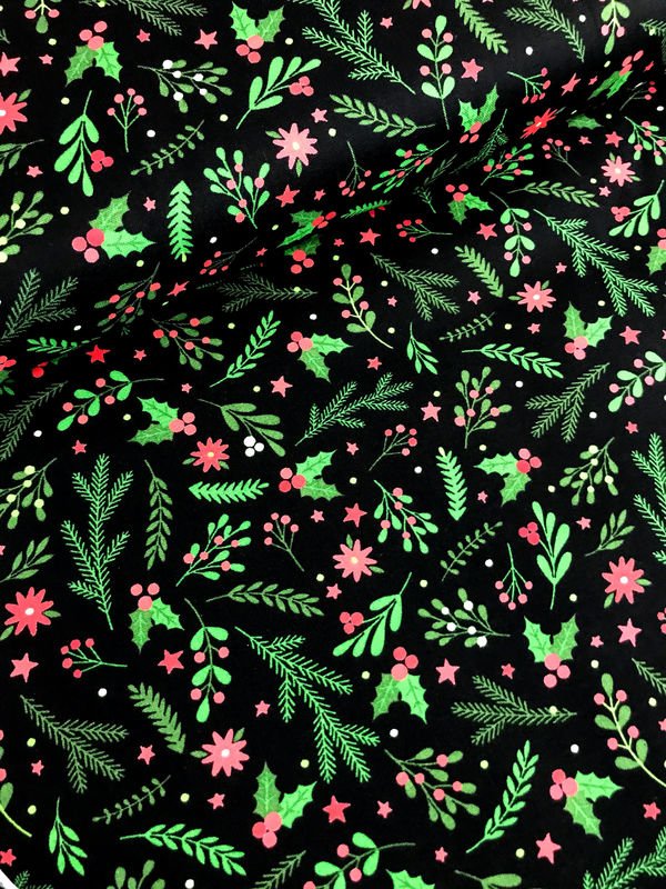 Cotton Quilt Fabric Holiday Greenery Black Santa's Stash Patrick Lose  - product images  of