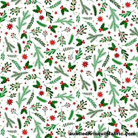 Cotton Quilt Fabric Holiday Greenery White Santa's Stash Patrick Lose  - product images  of