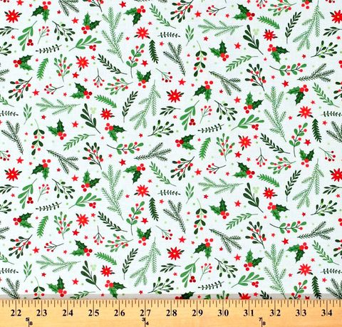 Cotton,Quilt,Fabric,Holiday,Greenery,White,Santa's,Stash,Patrick,Lose,,quilt backing, dresses, quilt fabric,cotton material,auntie chris quilt,sewing,crafts,quilting,online fabric,sale fabric