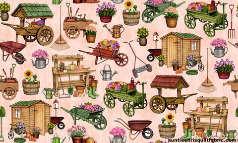 Cotton,Quilt,Fabric,A,Gardening,We,Grow,Tools,Carts,Flower,Pots,Dan,Morris,,quilt backing, dresses, quilt fabric,cotton material,auntie chris quilt,sewing,crafts,quilting,online fabric,sale fabric
