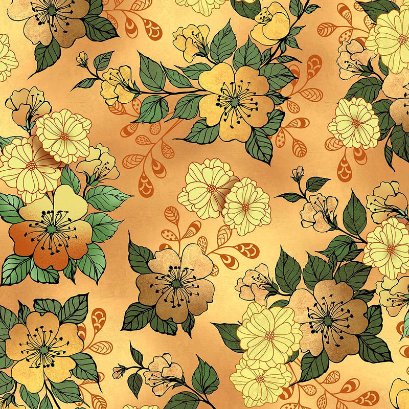 Cotton Quilt Fabric Manor House Large Floral Taupe Multi 26396 - product images  of