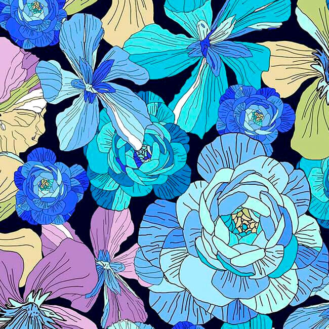 Cotton Quilt Fabric Ink & Arrow June Bee Thalia Large Floral Blue Multi - product images  of