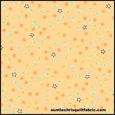 Cotton Quilt Fabric Dino-Mite Stars Light Melon Pastel Kids Babies - product images  of