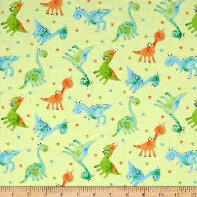 Cotton Quilt Fabric Dino-Mite Baby Dinos Pale Green Pastel Kids Babies - product images  of