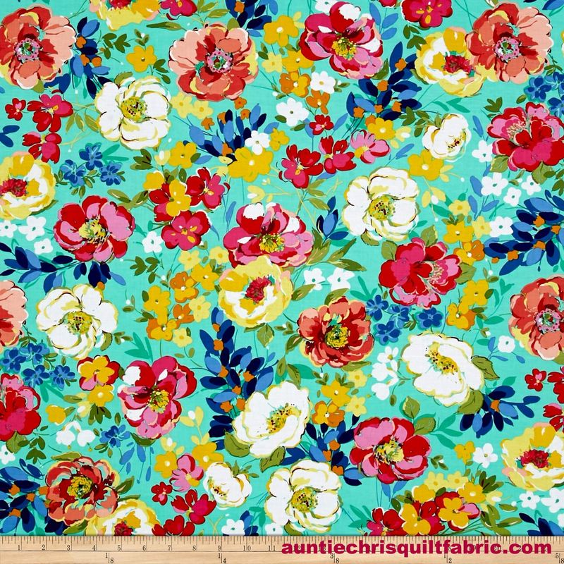 Cotton Quilt Fabric Ink & Arrow June Bee Penelope Stylized Floral Jade Multi - product images  of