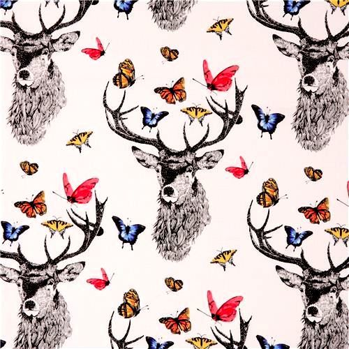 Cotton Quilt Fabric Dear Butterfly Main Large Graphic White Multi - product images  of