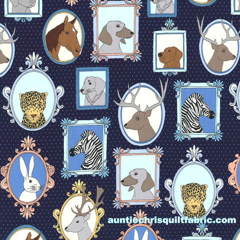 Cotton,Quilt,Fabric,Little,Animal,Portraits,Navy,,quilt backing, dresses, quilt fabric,cotton material,auntie chris quilt,sewing,crafts,quilting,online fabric,sale fabric