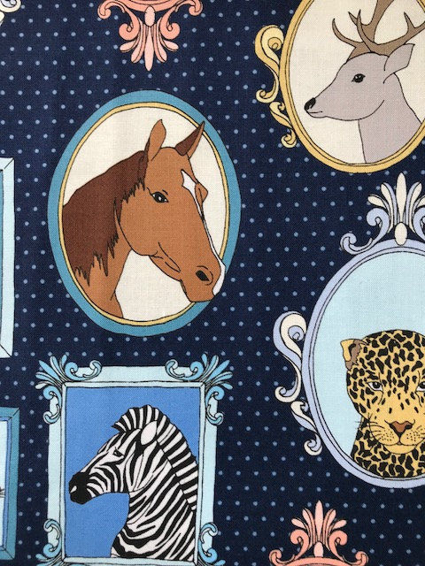 Cotton Quilt Fabric Little Animal Portraits Little Animal Portraits Navy  - product images  of