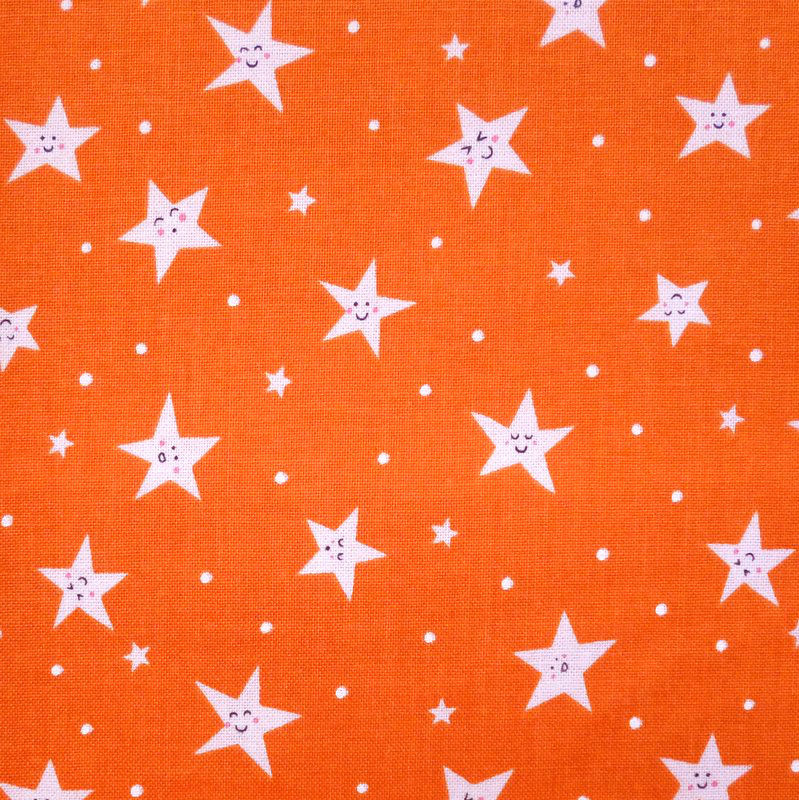 Cotton Quilt Fabric Michael Miller Goodnight Orange Smiley Stars - product images  of