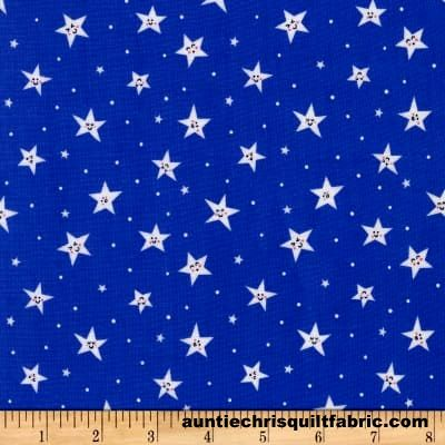 Cotton Quilt Fabric Michael Miller Goodnight Royal Blue Smiley Stars - product images  of