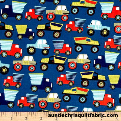 Cotton Quilt Fabric Michael Miller Little Movers Night Blue Trucks Construction - product images  of
