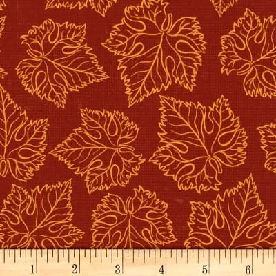 Cotton Quilt Fabric Tonal Grape Leaves Wine By Wild Apple - product images  of