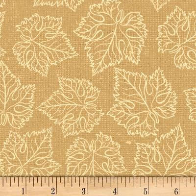 Cotton Quilt Fabric Tonal Grape Leaves Cream Beige By Wild Apple - product images  of