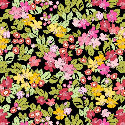 Cotton,Quilt,Fabric,LENORA'S,FLORAL,BLACK,Multi,Rose,&,Hubble,,quilt backing, dresses, quilt fabric,cotton material,auntie chris quilt,sewing,crafts,quilting,online fabric,sale fabric