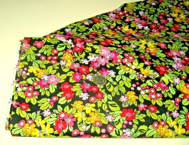 Cotton Quilt Fabric LENORA'S FLORAL BLACK Multi Rose & Hubble - product images  of