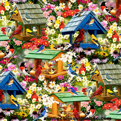Cotton,Quilt,Fabric,Multi,Spring,Again,Birds,Birdhouses,Gardening,Flowers,,quilt backing, dresses, quilt fabric,cotton material,auntie chris quilt,sewing,crafts,quilting,online fabric,sale fabric