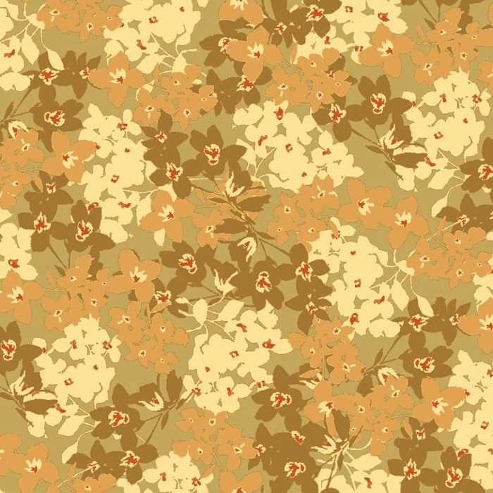 Cotton Quilt Fabric Oak Avenue ROSEBUD DITSY Floral TAUPE - product images  of