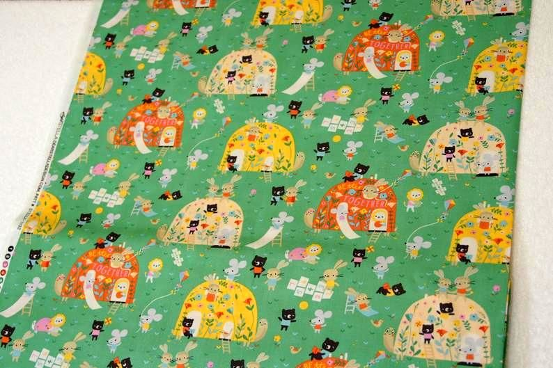 Cotton Quilt Fabric Dear Stella Out Of My Shell Billiard Green Kids Babies - product images  of