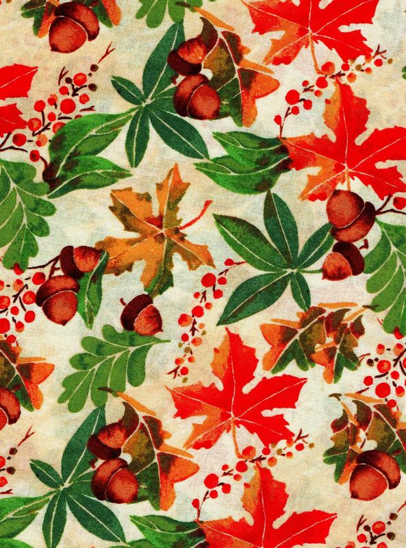 Cotton Quilt Fabric David Tossed Fall Autumn Leaves Acorns - product images  of