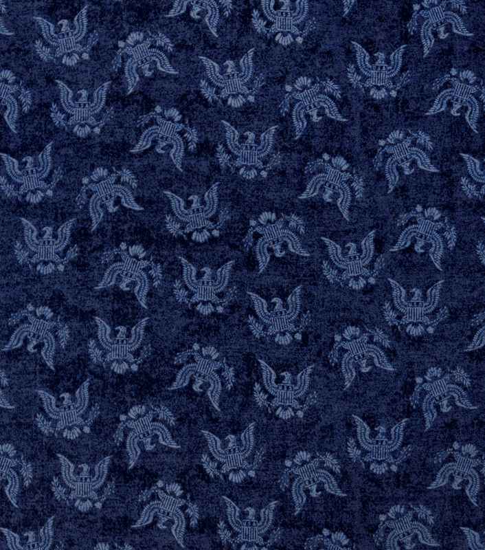 Cotton Quilt Fabric Flannel Navy USA Eagles Patriotic Military - product images  of