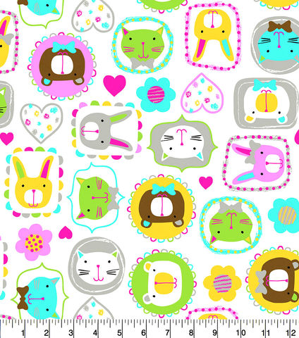 Cotton,Quilt,Fabric,Flannel,Framed,Kitty,Faces,Hearts,Flowers,,quilt backing, dresses, quilt fabric,cotton material,auntie chris quilt,sewing,crafts,quilting,online fabric,sale fabric
