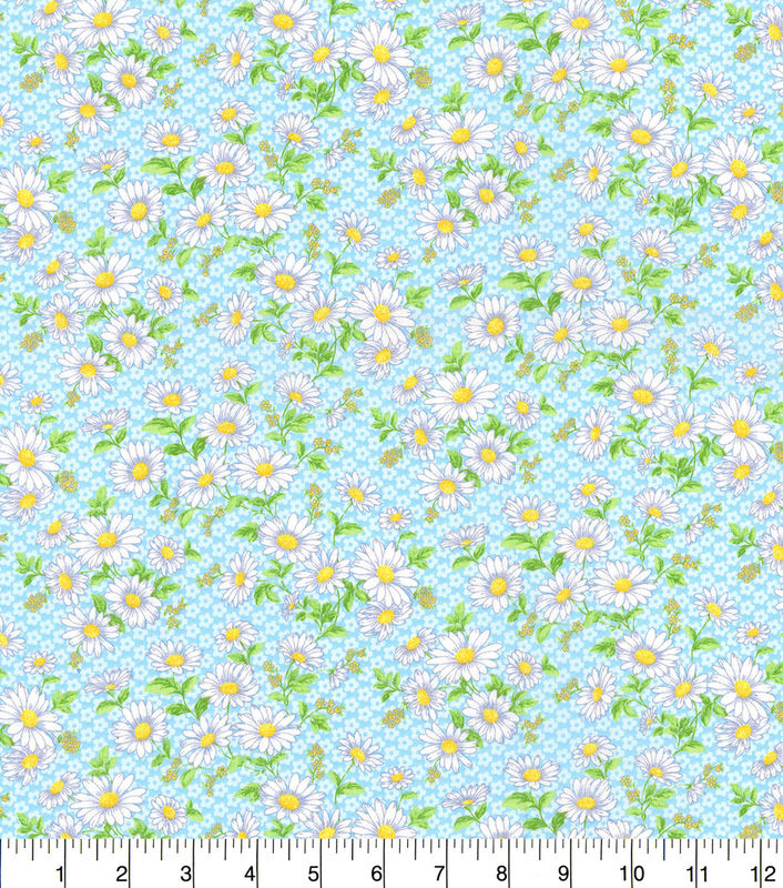 Cotton Quilt Fabric Daisy Delight Floral Lt Blue Keepsake Calico - product images  of