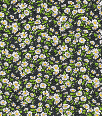 Cotton,Quilt,Fabric,Daisy,Delight,Floral,Black,Keepsake,Calico,,quilt backing, dresses, quilt fabric,cotton material,auntie chris quilt,sewing,crafts,quilting,online fabric,sale fabric
