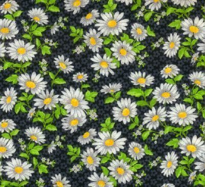 Cotton Quilt Fabric Daisy Delight Floral Black Keepsake Calico - product images  of