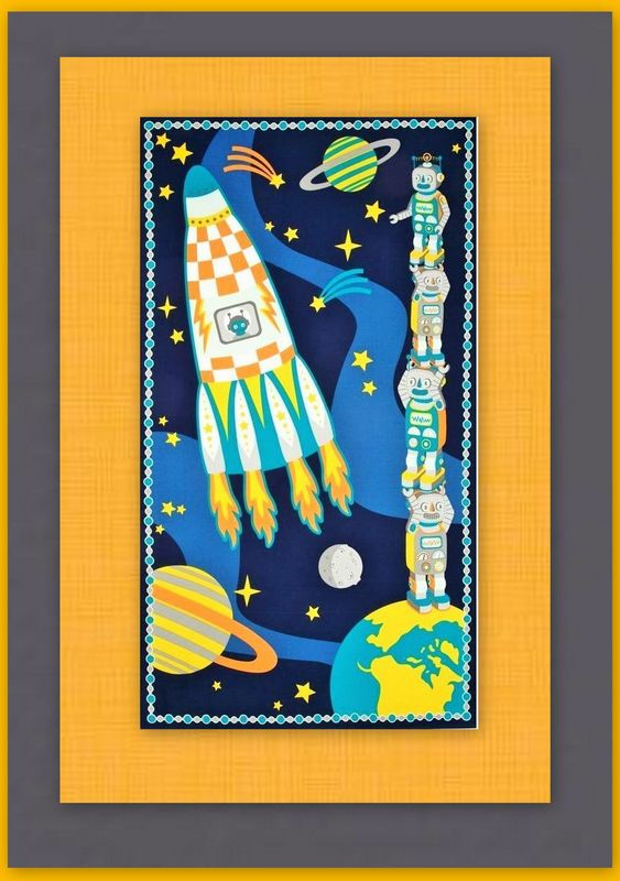 Easy Fabric Panel Quilt Kit Atomic Bots Robots in Space Wall/Nap Quilt - product images  of