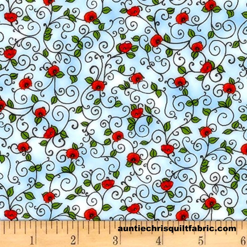 Cotton Quilt Fabric Prairie Lane Scroll Baby Blue Red Rose Buds #9523-70  - product images  of