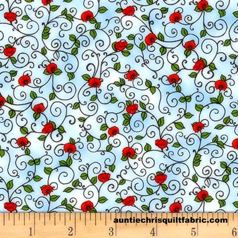 Cotton,Quilt,Fabric,Prairie,Lane,Scroll,Baby,Blue,Red,Rose,Buds,#9523-70,,quilt backing, dresses, quilt fabric,cotton material,auntie chris quilt,sewing,crafts,quilting,online fabric,sale fabric