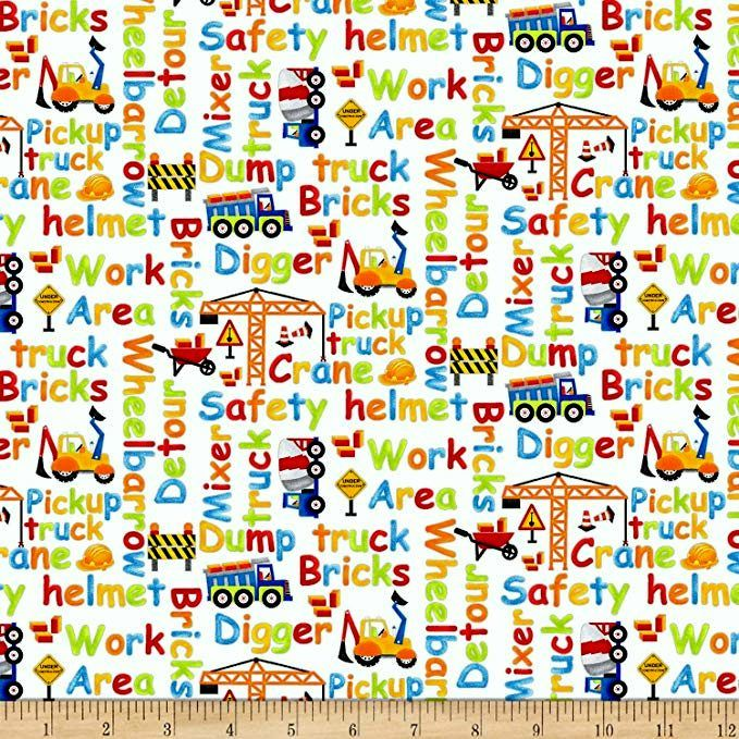 Cotton Quilt Fabric My Favorite Trucks Construction Zone Words White - product images  of