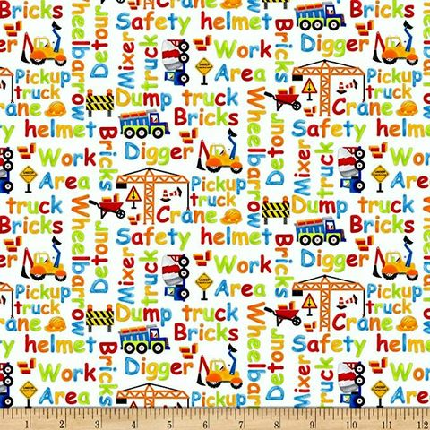 Cotton,Quilt,Fabric,My,Favorite,Trucks,Construction,Zone,Words,White,,quilt backing, dresses, quilt fabric,cotton material,auntie chris quilt,sewing,crafts,quilting,online fabric,sale fabric