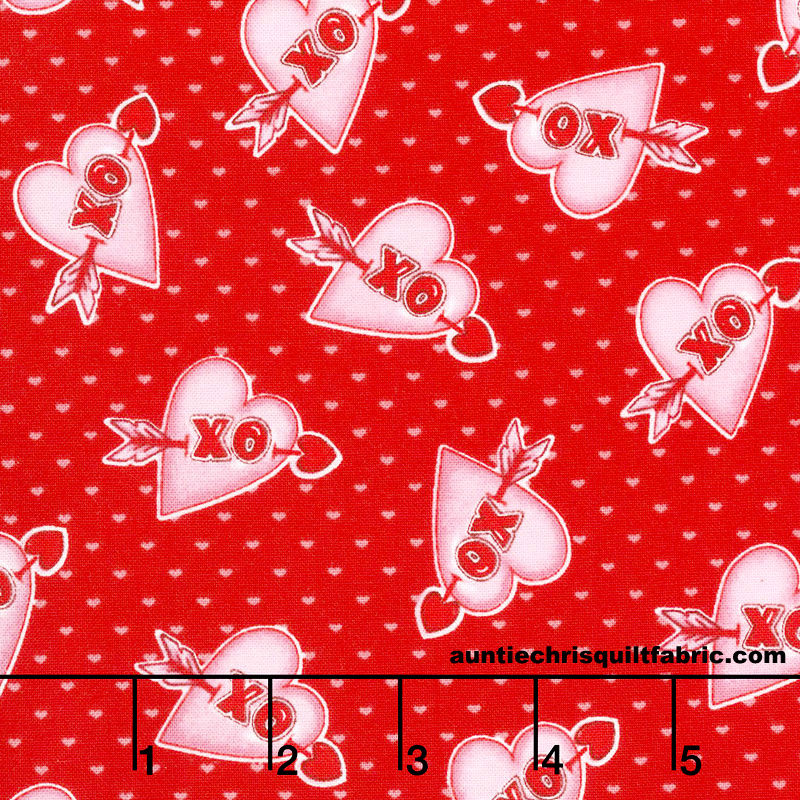 Cotton Quilt Fabric Love Struck Valentine Hearts XO Hugs Kisses Red - product images  of