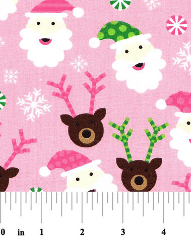 Cotton,Quilt,Fabric,Santa,Claus,Peppermint,Pink,Multi,Print,60,Wide,,quilt backing, dresses, quilt fabric,cotton material,auntie chris quilt,sewing,crafts,quilting,online fabric,sale fabric