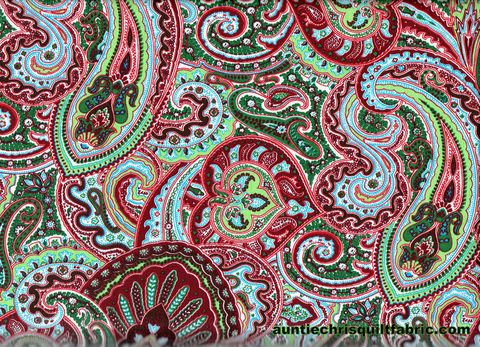 Cotton,Quilt,Fabric,Large,Paisley,Floral,Green,Red,60,Wide,,quilt backing, dresses, quilt fabric,cotton material,auntie chris quilt,sewing,crafts,quilting,online fabric,sale fabric