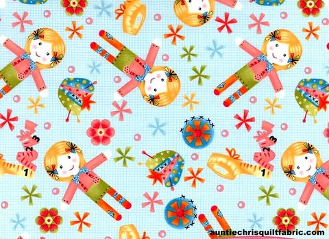 Cotton,Quilt,Fabric,One,Stitch,At,A,Time,Blue,Tossed,Dolls,,quilt backing, dresses, quilt fabric,cotton material,auntie chris quilt,sewing,crafts,quilting,online fabric,sale fabric
