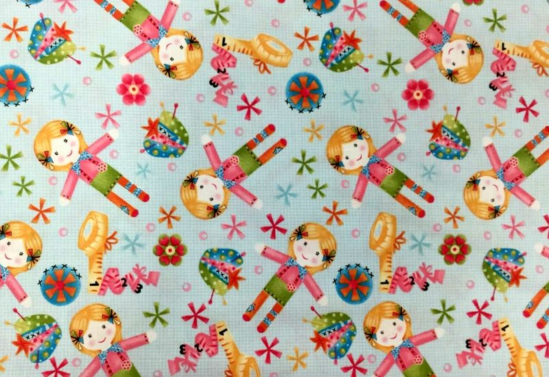 Cotton Quilt Fabric One Stitch At A Time Blue Tossed Dolls  - product images  of