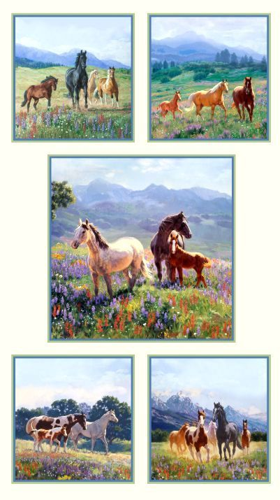 Cotton Quilt Fabric Wildflower Trails Panel Cream Horses Equestrian - product images  of