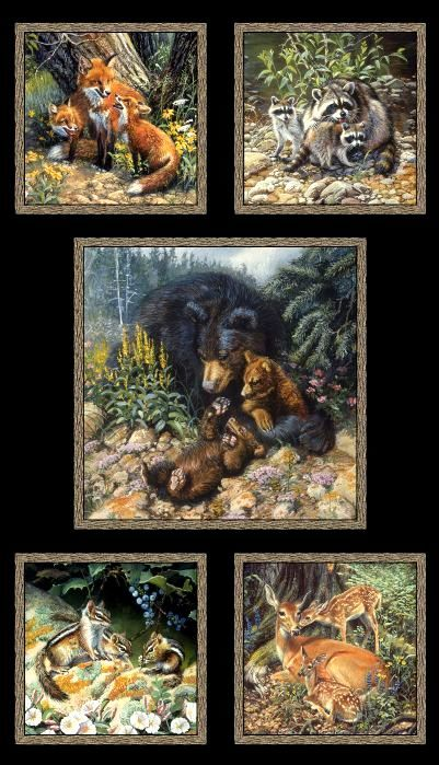 Cotton Quilt Fabric Woodland Families Panel Forest Animals Black Multi - product images  of