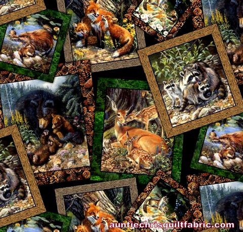 Cotton,Quilt,Fabric,Woodland,Families,Forest,Animals,Postcard,Frames,,quilt backing, dresses, quilt fabric,cotton material,auntie chris quilt,sewing,crafts,quilting,online fabric,sale fabric
