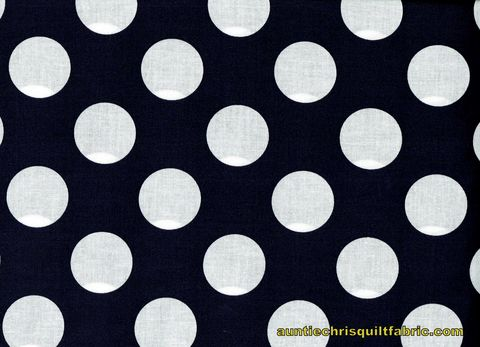 Cotton,Quilt,Fabric,Navy,Blue,White,Bigger,Dot,Polka,Dots,1,1/2,dot,,quilt backing, dresses, quilt fabric,cotton material,auntie chris quilt,sewing,crafts,quilting,online fabric,sale fabric