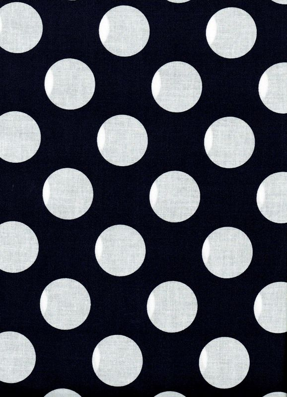 "Cotton Quilt Fabric Navy Blue White Bigger Dot Polka Dots 1 1/2"" dot - product images  of"