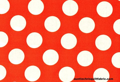 Cotton,Quilt,Fabric,Bright,Orange,White,Bigger,Dot,Polka,Dots,1,1/2,dot,,quilt backing, dresses, quilt fabric,cotton material,auntie chris quilt,sewing,crafts,quilting,online fabric,sale fabric