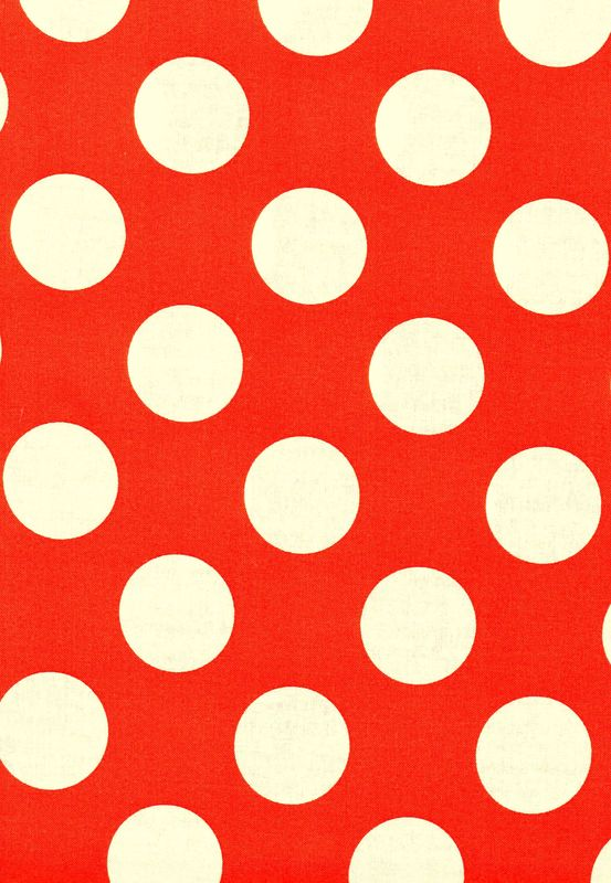 "Cotton Quilt Fabric Bright Orange White Bigger Dot Polka Dots 1 1/2"" dot - product images  of"
