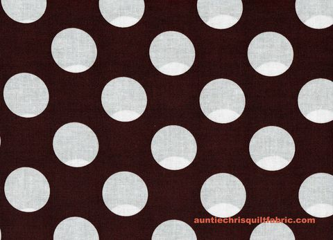 Cotton,Quilt,Fabric,Chocolate,Brown,White,Bigger,Dot,Polka,Dots,1,1/2,dot,,quilt backing, dresses, quilt fabric,cotton material,auntie chris quilt,sewing,crafts,quilting,online fabric,sale fabric