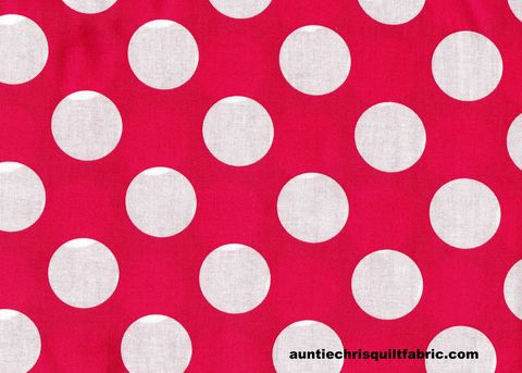 Cotton,Quilt,Fabric,Hot,Pink,White,Bigger,Dot,Polka,Dots,1,1/2,dot,,quilt backing, dresses, quilt fabric,cotton material,auntie chris quilt,sewing,crafts,quilting,online fabric,sale fabric